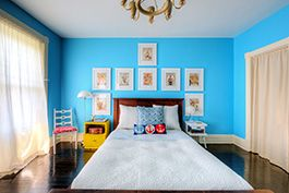 townhouse bedroom with light blue interior